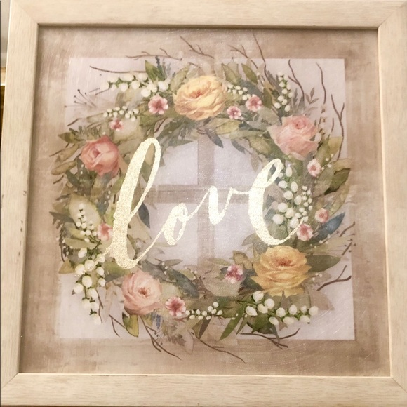 Other - Ashland framed Wall art floral wreath & gold love